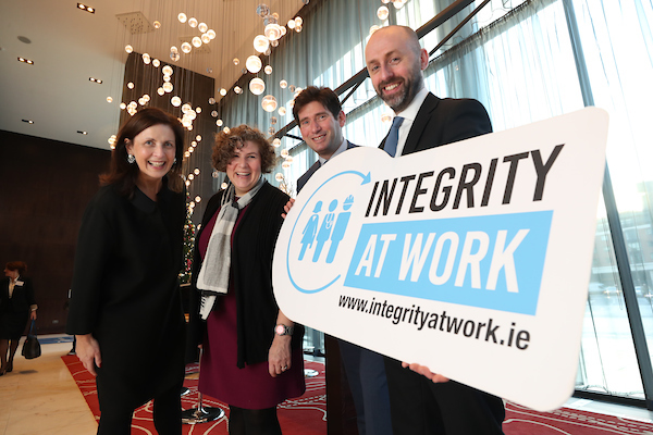 Gráinne Madden of GMJ Associates, Dana Gold of The Government Accountability Project, Andrew Samuels Co-Founder of Addveritas, and John Devitt, CEO of Transparency International Ireland at TI Ireland's Integrity At Work Conference 2018 on Wednesday.